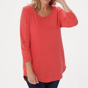H by Halston French Terry Scoop-Neck Tunic with 3/